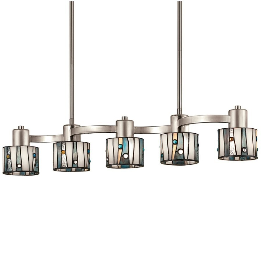 Portfolio 32 In W 5 Light Brushed Nickel Kitchen Island Light With Tiffany