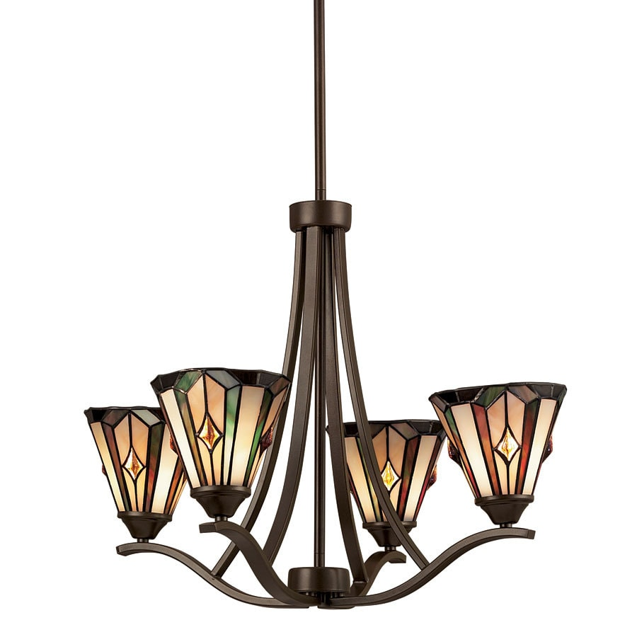 Portfolio 4 light mission bronze tiffany style chandelier at lowes com