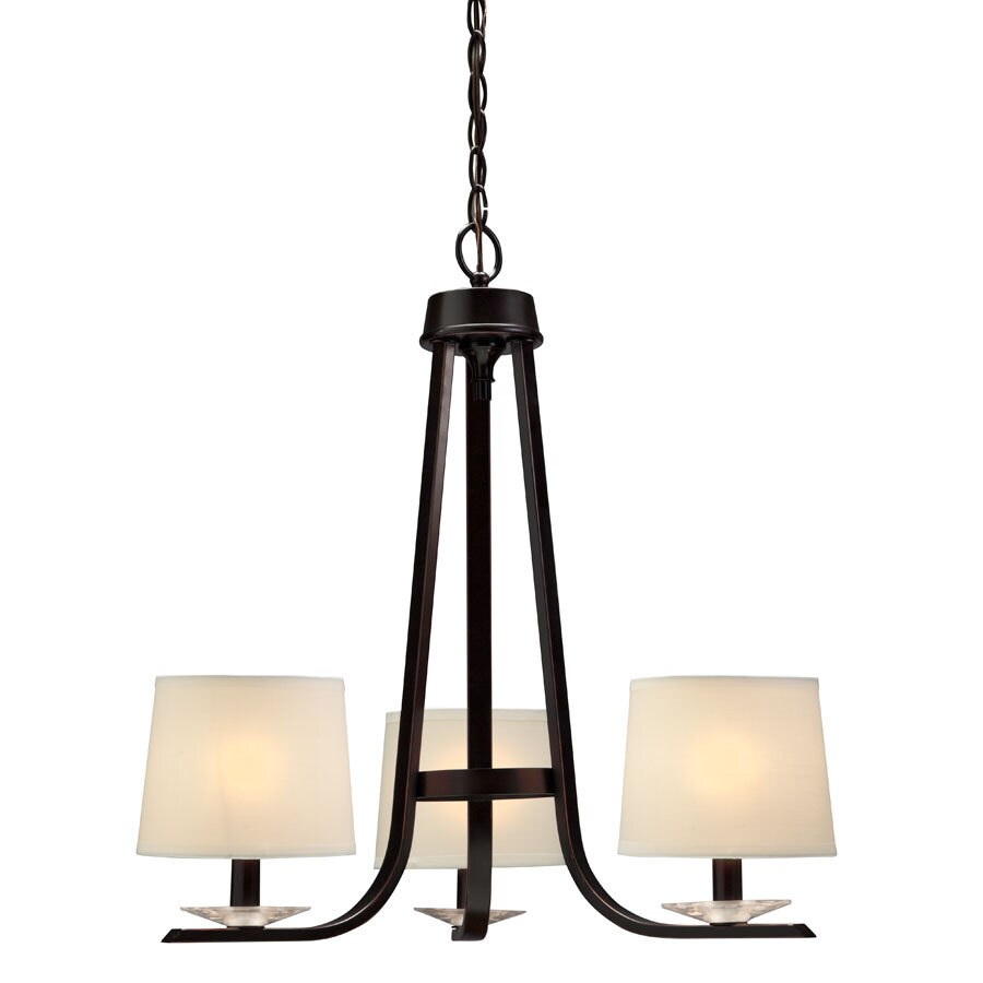 Portfolio 21.43-in 3-Light Oil Rubbed Bronze Craftsman Shaded Chandelier