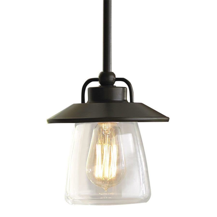 Lowes Light Fixtures For Kitchen Shop allen roth bristow 687 in mission bronze rustic mini clear allen roth bristow 687 in mission bronze rustic mini clear glass globe pendant workwithnaturefo
