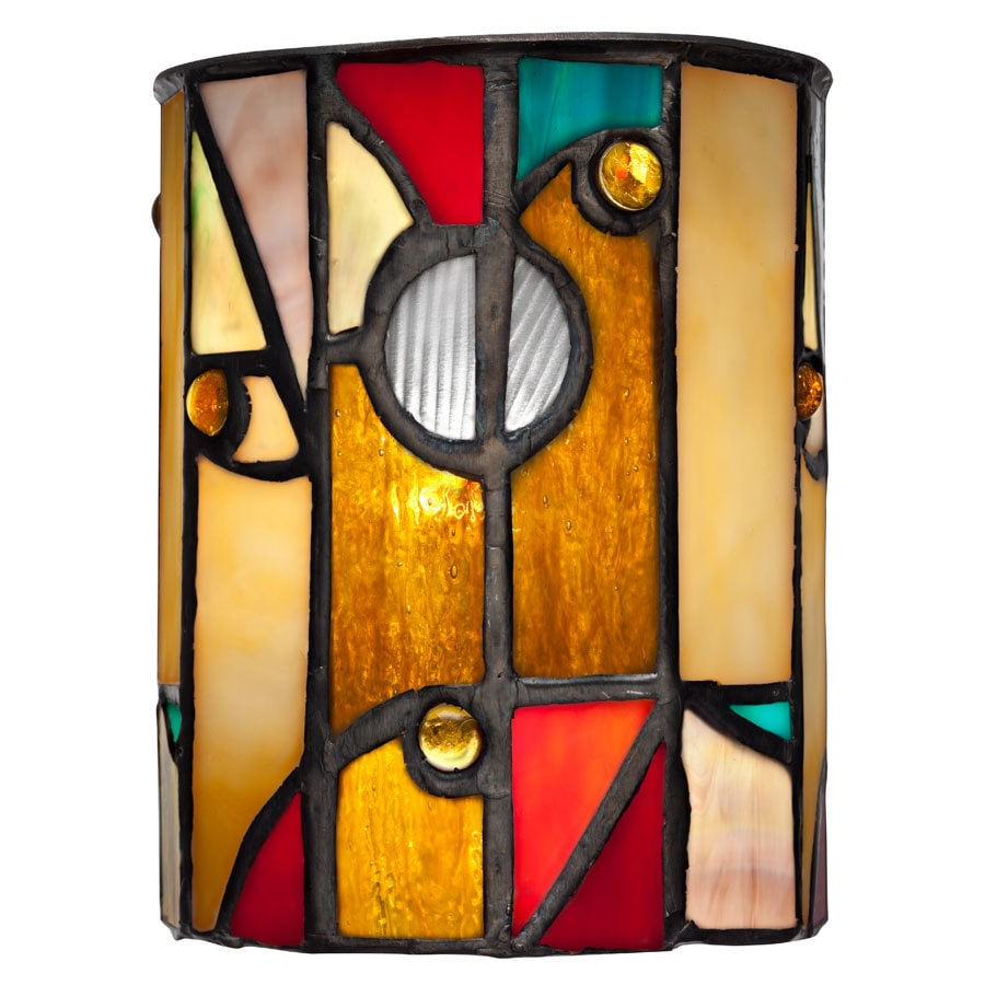 allen + roth 5-in H 4-in W Multicolor Tiffany Art Glass Tiffany-style Cylinder Pendant Light Shade