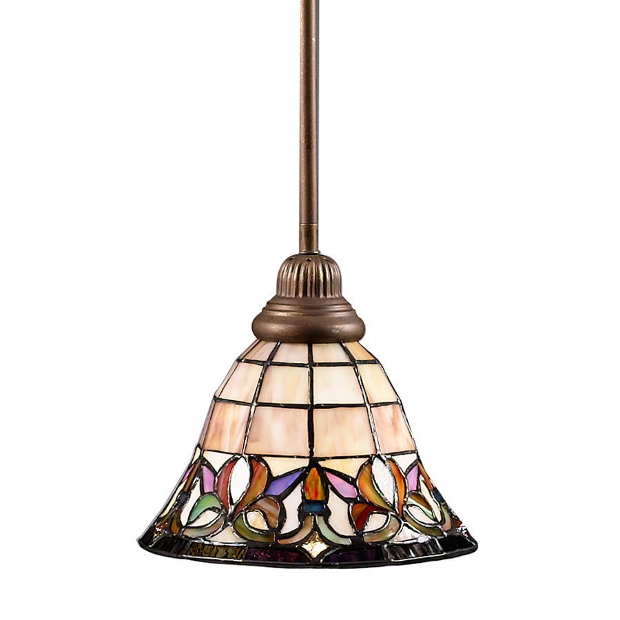 Portfolio Flora 8.5-in Mission Bronze Tiffany-Style Mini Stained Glass Bell Pendant