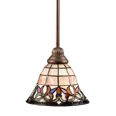 Flora Mission Bronze Mini Traditional Stained Gl Bell Pendant Light