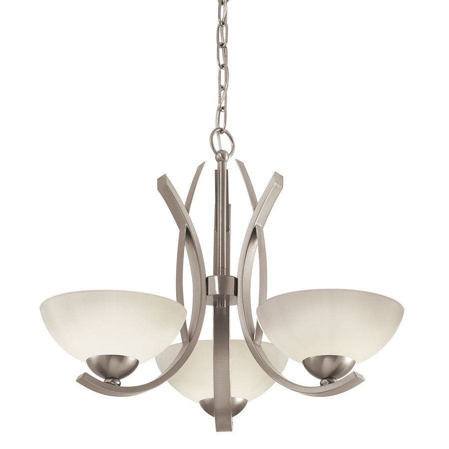 Portfolio Lebach 3 Light Brushed Nickel Chandelier