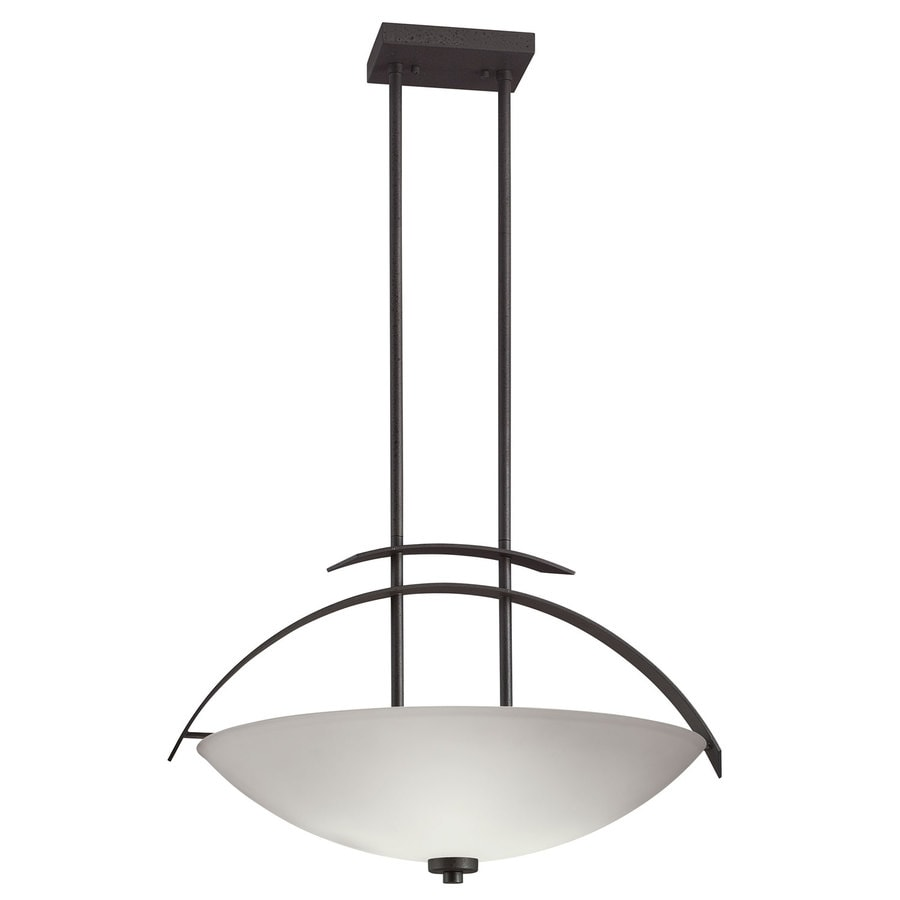 Portfolio 22-in W Anvil Iron Pendant Light with Frosted Glass Shade