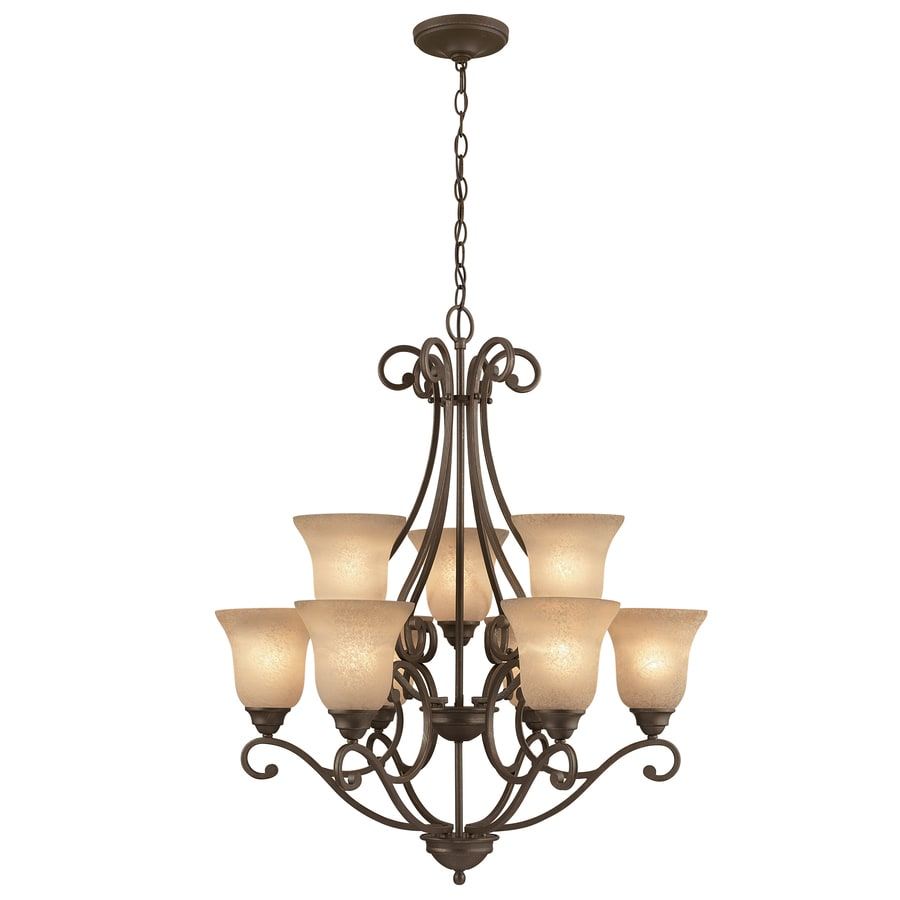 Portfolio Linkhorn 30-in 9-Light Iron Stone Wrought Iron Hardwired Tinted Glass Shaded Chandelier