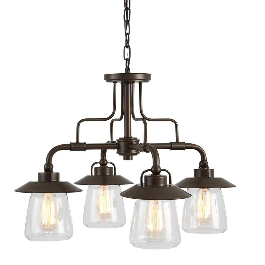 Shop chandeliers at lowes allen roth bristow 2402 in 4 light mission bronze rustic clear glass shaded mozeypictures Choice Image