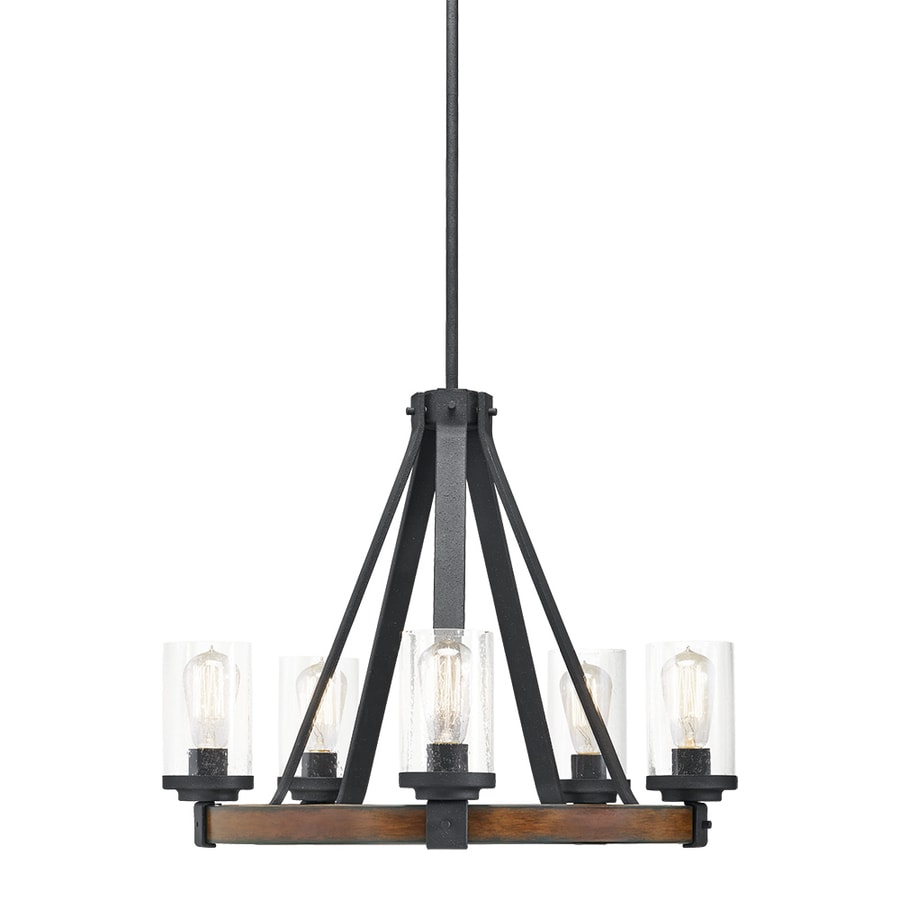 Kichler Barrington 24.02-in 5-Light Distressed Black and Wood Rustic Clear Glass Candle Chandelier