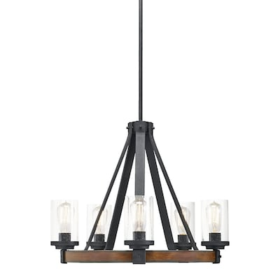 Barrington 5 Light Distressed Black And Wood Tone Rustic Clear Gl Candle Chandelier
