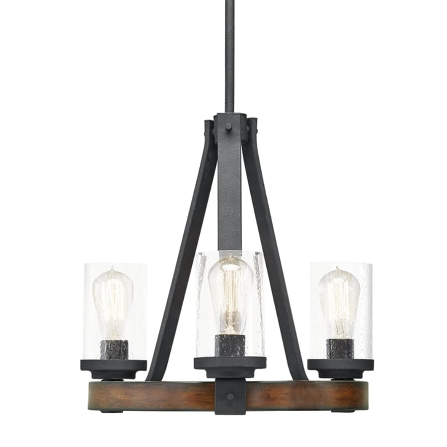 Kichler barrington 3 light distressed black and wood transitional clear glass candle chandelier