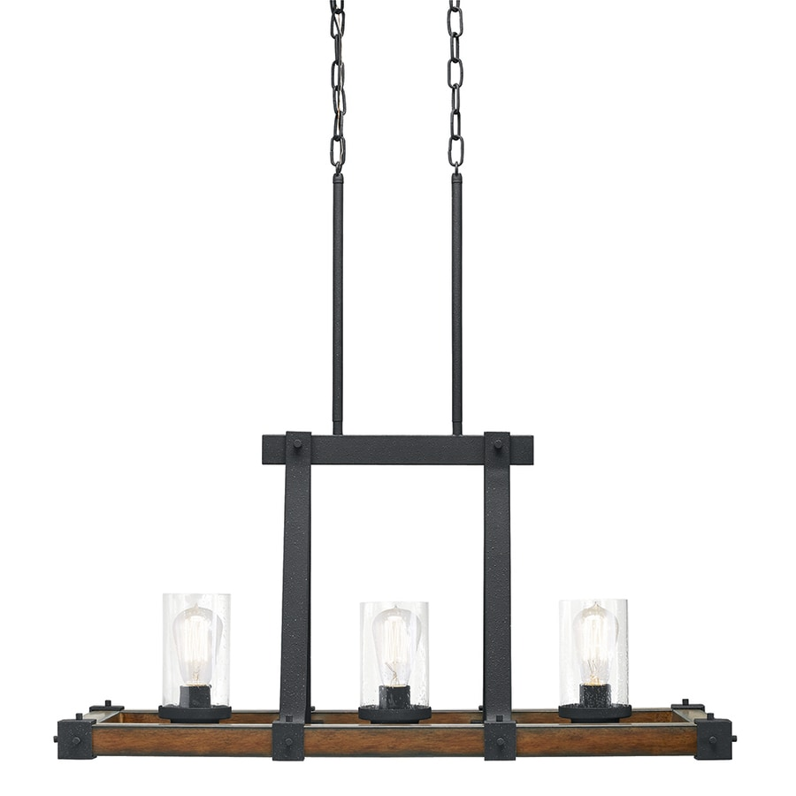 Kichler barrington 12 01 in w 3 light distressed black and wood rustic standard kitchen