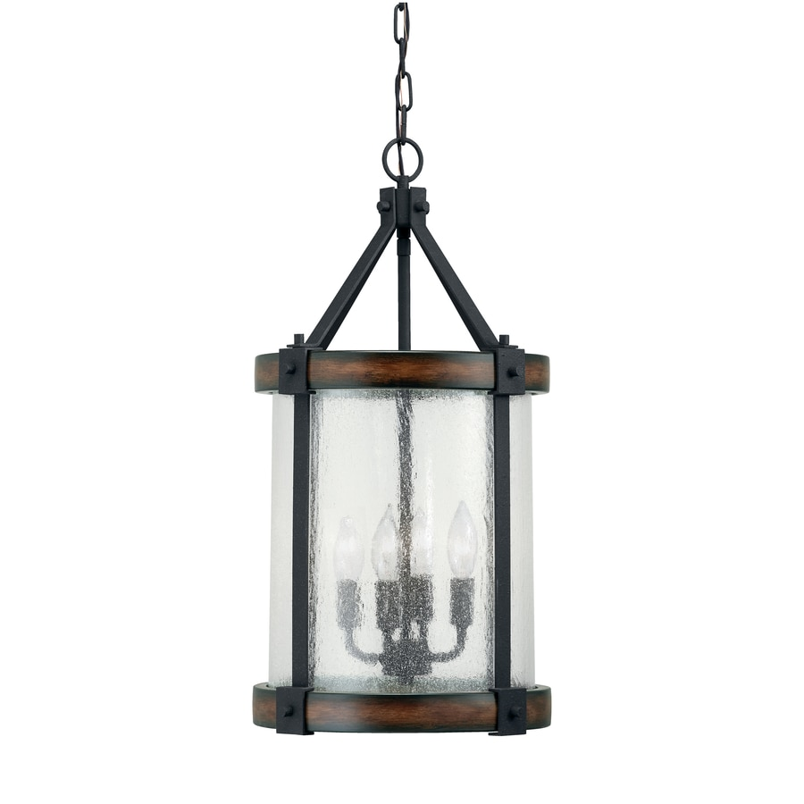 Kichler Barrington 1201 In Distressed Black And Wood Rustic Single Seeded Glass Cylinder Pendant