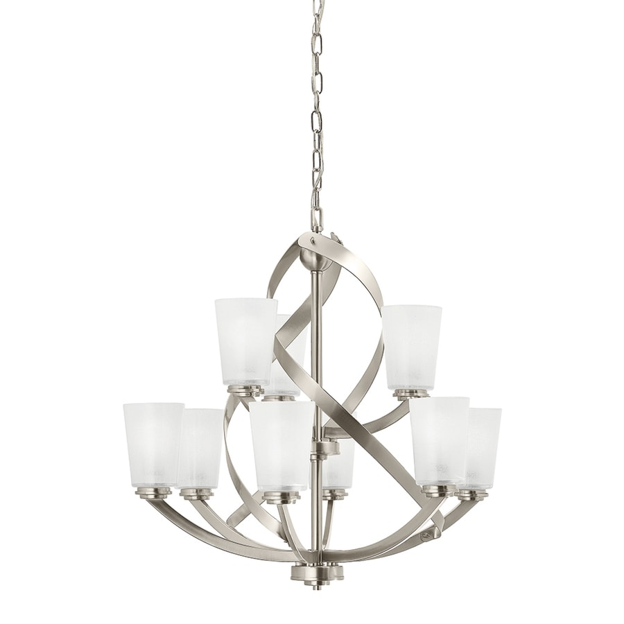 dining room light fixtures lowes. Kichler Layla 26 in 9 Light Brushed Nickel Etched Glass Shaded Chandelier Shop