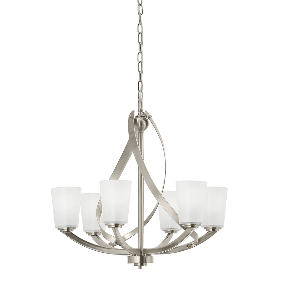 Chandeliers and pendant lighting in all sizes at lowes kichler layla 2421 in 6 light etched glass shaded chandelier arubaitofo Choice Image
