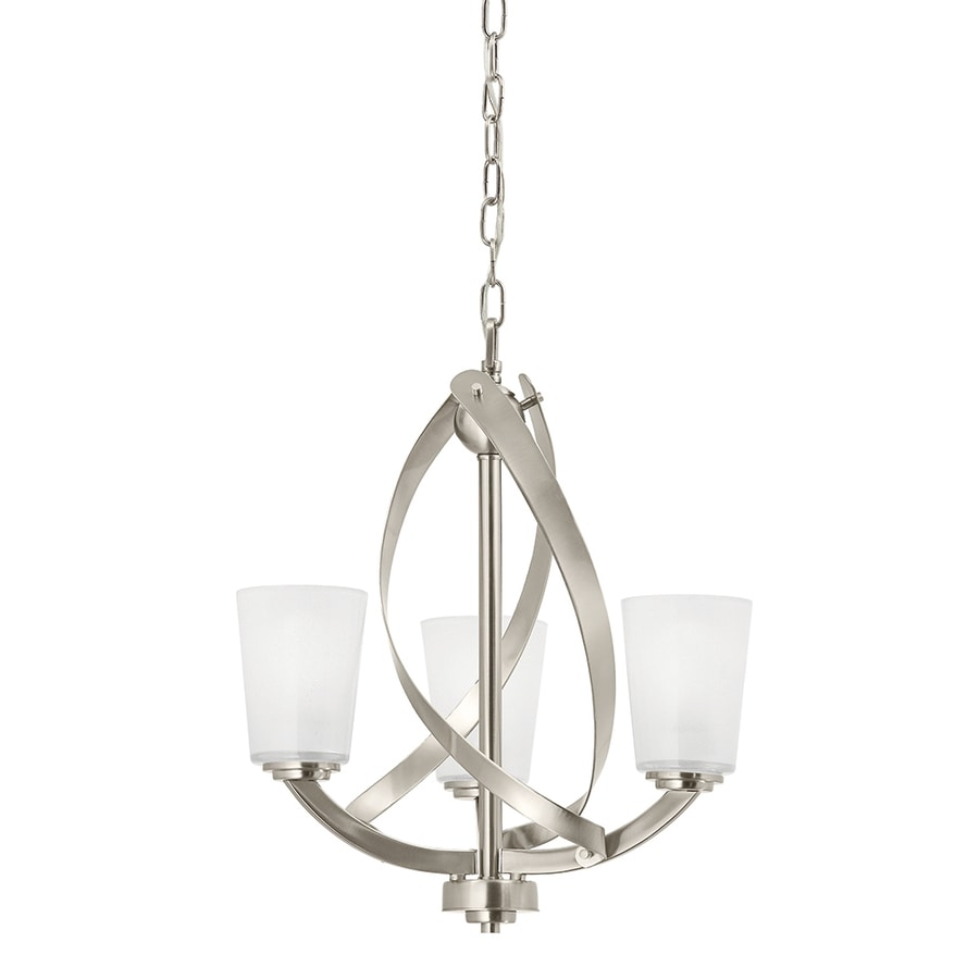 Bathroom Chandeliers Lowes shop kichler layla 17.2-in 3-light brushed nickel etched glass