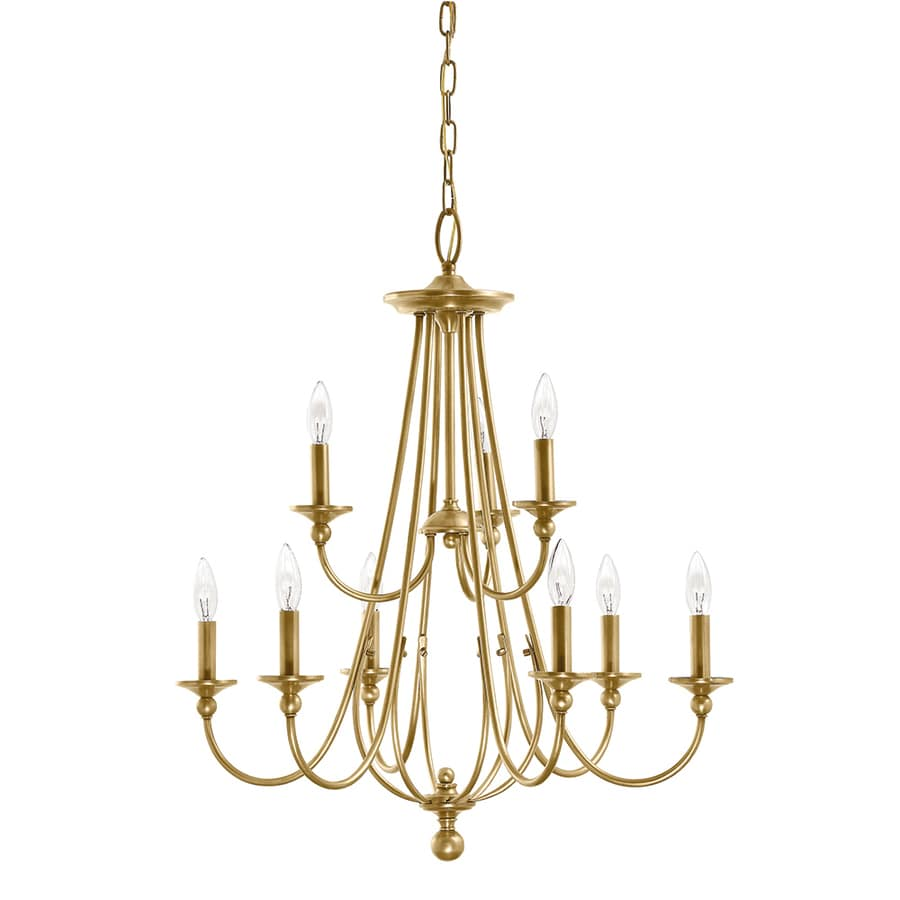 Kichler Camella 25.98-in 9-Light Natural brass Williamsburg Candle Chandelier