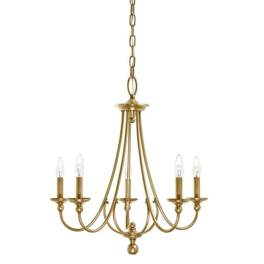 Kichler Camella 21.77-in 5-Light Natural brass Williamsburg Candle Chandelier