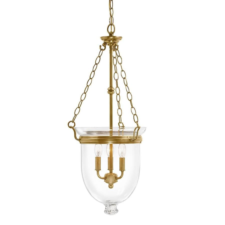 Kichler Lighting Belleville 15.51-in Natural Brass Williamsburg Single Clear Glass Urn Pendant