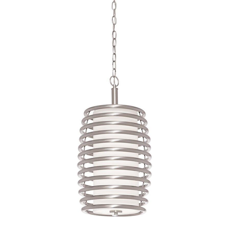 kichler bands 1169in brushed nickel industrial single etched glass cylinder pendant