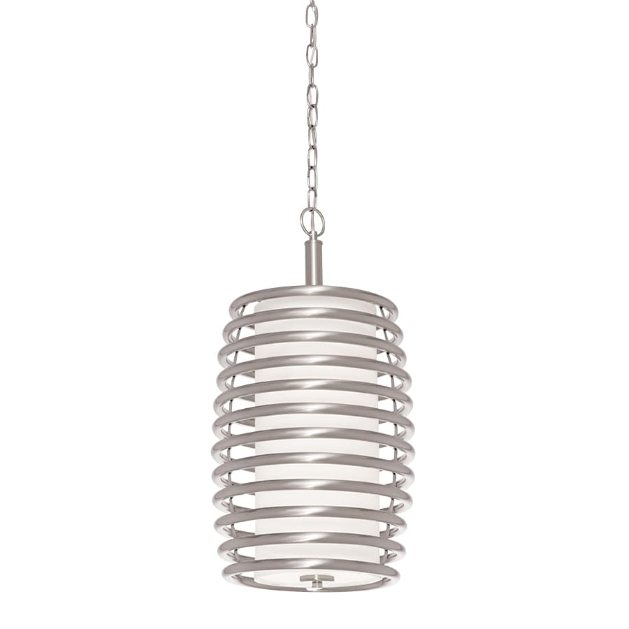 Kichler Bands 11.69-in Brushed Nickel Industrial Single Etched Glass Cylinder Pendant