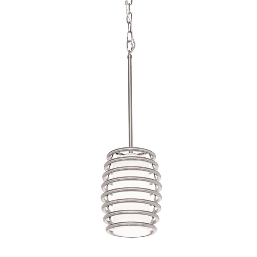 Kichler Bands 7.01-in Brushed Nickel Industrial Mini Etched Glass Cylinder Pendant