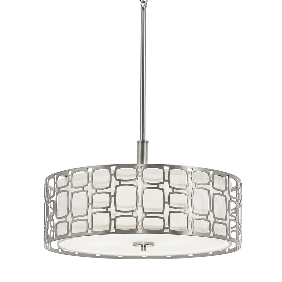 kichler sabine 18in brushed nickel art deco single etched glass drum pendant