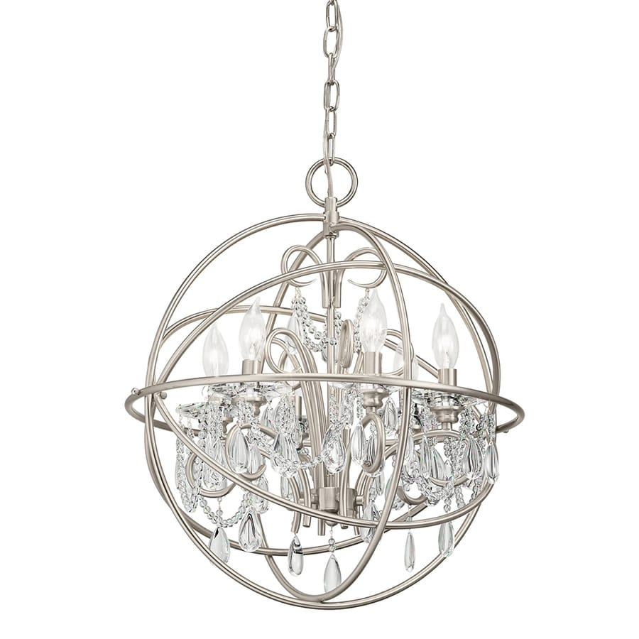 Kichler Vivian 1902 In 6 Light Brushed Nickel Clear Glass Globe Chandelier