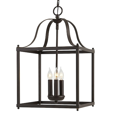 Danbury Aged Bronze Single French Country Cottage Cage Pendant Light