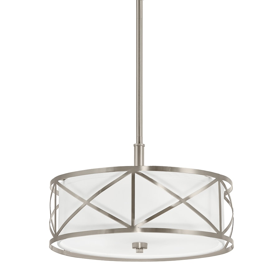 kichler edenbrook 1701in brushed nickel country cottage single etched glass drum pendant
