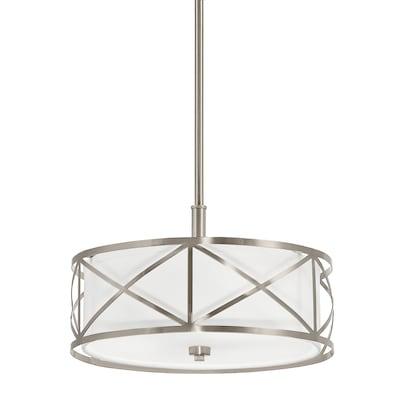 Edenbrook Brushed Nickel Modern Contemporary Etched Glass Drum Pendant Light