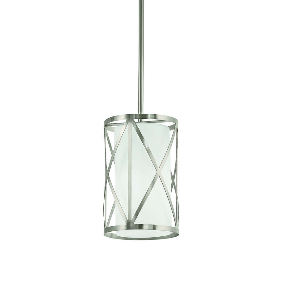 Kichler Edenbrook 6.46-in Brushed Nickel Country Cottage Mini Etched Glass Cylinder Pendant