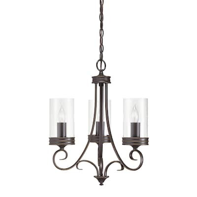 Diana 3 Light Olde Bronze French Country Cottage Clear Gl Candle Chandelier
