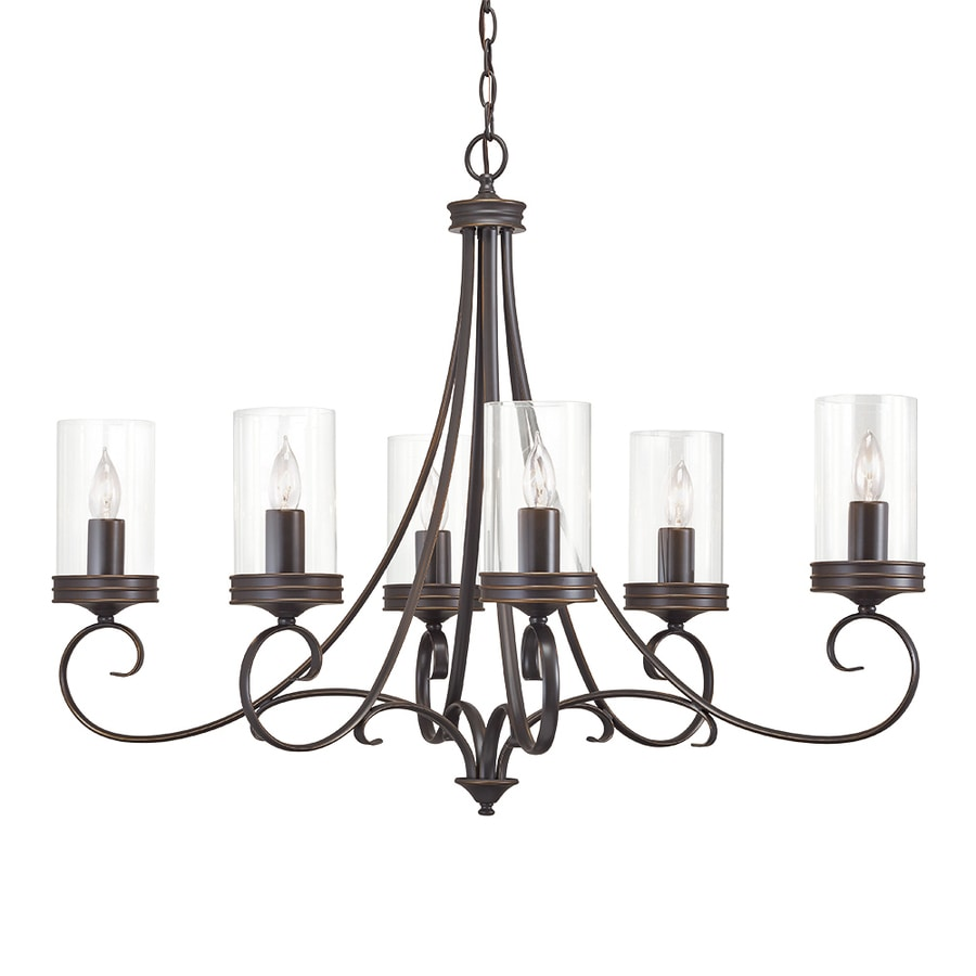 Shop chandeliers at lowes kichler diana 3598 in 6 light olde bronze williamsburg clear glass candle chandelier aloadofball Gallery