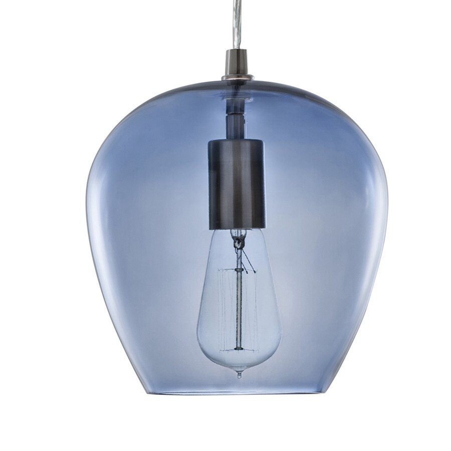 allen + roth 7.99-in Brushed Nickel Art Deco Mini Tinted Glass Bell Pendant
