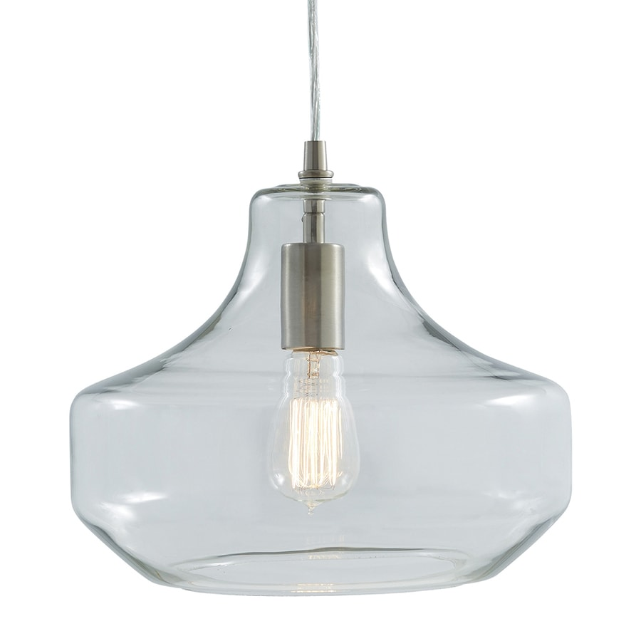 allen + roth 12.01-in Brushed Nickel Art Deco Single Clear Glass Urn Pendant