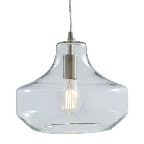 new arrival cc64b 7dff4 Allen + roth Brushed Nickel Single Modern/Contemporary Clear Glass Urn  Pendant Light at Lowes.com