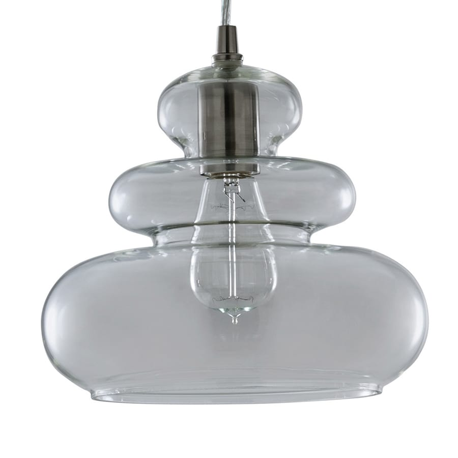 allen + roth 9.84-in Brushed Nickel Art Deco Mini Clear Glass Pendant