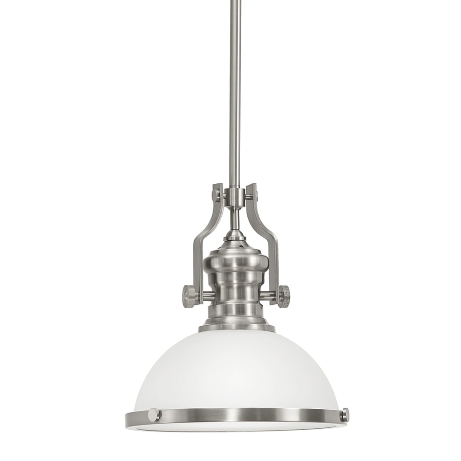 Portfolio 12.2-in Satin Nickel Industrial Single Warehouse Pendant