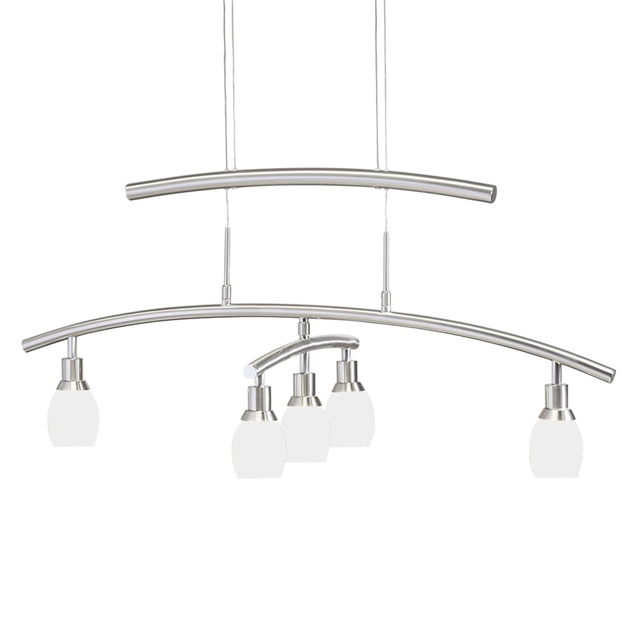 Kichler Lighting 33.62-in 5-Light Satin Nickel Crystal Tinted Glass Draped Chandelier