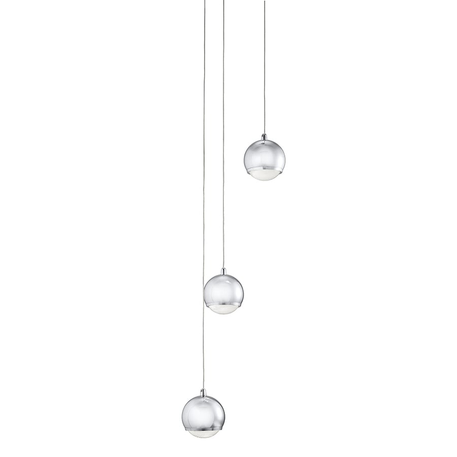 Kichler Lighting Glisten 9.45-in Chrome Multi-Light Clear Glass Globe Pendant
