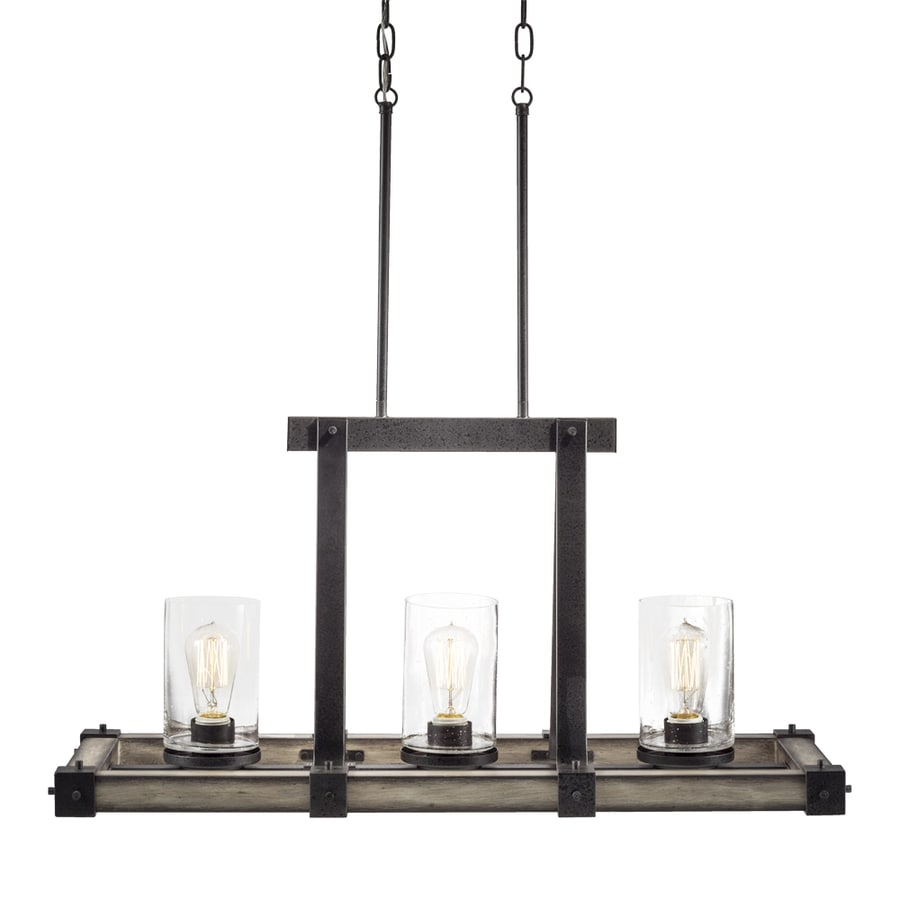 Shop Kichler Barrington 12.01-in W 3-Light Anvil Iron With Driftwood Rustic/Lodge Kitchen Island ...