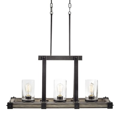 Barrington Anvil Iron And Distressed Antique Grey Kitchen Island Light Rustic Seeded Gl Linear Pendant