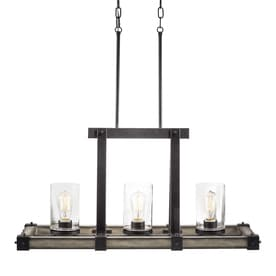 island lighting. Kichler Barrington 12.01-in W 3-Light Anvil Iron With Driftwood Rustic/Lodge Island Lighting