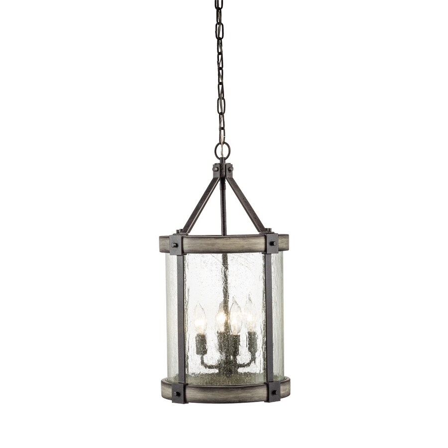Kichler Barrington 12.01-in Anvil Iron And Driftwood Rustic Single Seeded Glass Cylinder Pendant