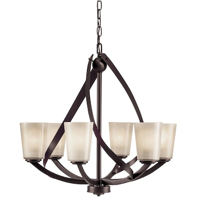Layla 6 Light Olde Bronze Modern Contemporary Tinted Gl Shaded Chandelier