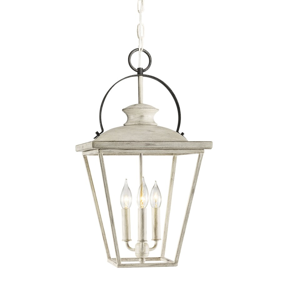 Kichler Lighting Arena Cove 12.01-in Distressed Antique White and Rust Country Cottage Single Cage Pendant