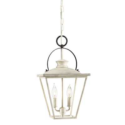 Arena Cove Distressed Antique White And Rust Single French Country Cottage Cage Pendant Light