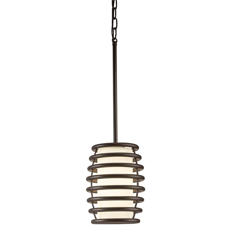 Kichler Lighting Bands 7.01-in Olde Bronze Industrial Mini Etched Glass Cylinder Pendant
