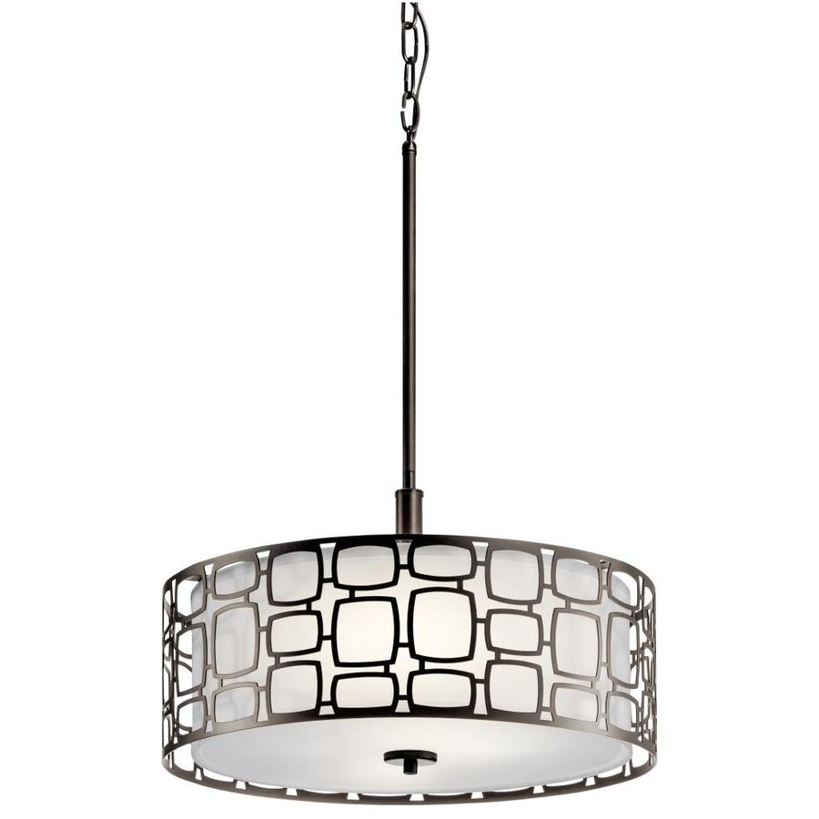Kichler Lighting Sabine 17.99-in W Olde Bronze Hardwired Standard Pendant Light with Fabric Shade