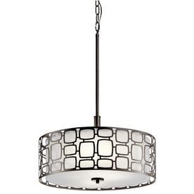 drum light fixture. Kichler Sabine 17.99-in Olde Bronze Art Deco Single Etched Glass Drum Pendant Light Fixture
